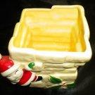 Adorable Ceramic Santa Claus Christmas Chimney Square Candy Bowl / Pot Planter