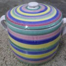 Rare Handmade Italian Pottery Caleca Striped Cookie Jar Tall Canister With Lid