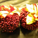 Set of 2 Fake Pomegranates with Ribbon, Xmas Christmas Tree Decoration Ornaments