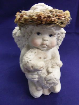 DREAMSICLES by Kristin 1993 Signed Cherub Angel With Baby Lamb, Retired Cast Art