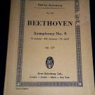 BEETHOVEN Symphony No. 9 in D Minor Op 125, Edition Eulenburg No 411 Sheet Music