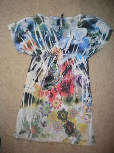 Mi Manchi dress bright colors flowers no size 14W 34L pnk blu black tunic vneck