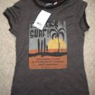 Realitee Medium Juniors brown ringer tee Endless Surf sunset palm tree New NWT!~