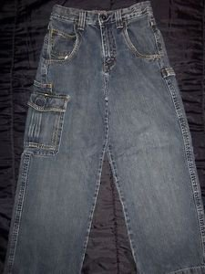 WRG JEANS CO by Wrangler, Dark Blue Cargo Pants Bluejeans, Boys Size 12 Regular