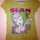 Tinkerbell Disney GLAM Magazine Disneyland Green T-Shirt, Women's Size Medium M
