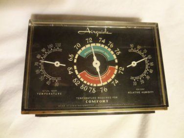 Airguide Vintage Desktop Thermometer Weather Station Temperature Humidity