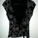 EVIE Designer Brand Little Black Blouse Sleeveless Shirt Top, Dots & Circles