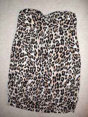 Leopard top dress small adorable bubble bottom strapless well made