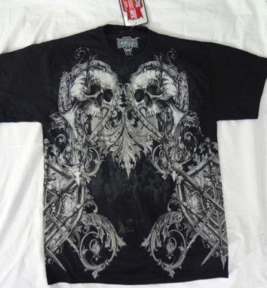 MMA ELITE Official UFC Fighting Skulls Tattoo Art Black T-Shirt, Men's M NEW NWT