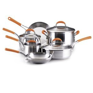 Rachael Ray Stainless Steel 10-Piece Cookware Set, Orange Handles