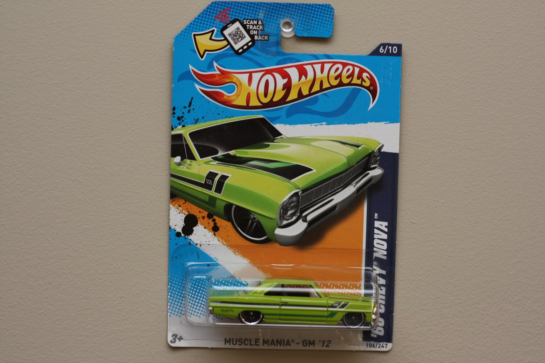 Hot Wheels 2012 Muscle Mania GM '66 Chevy Nova (green - Walmart Excl.)
