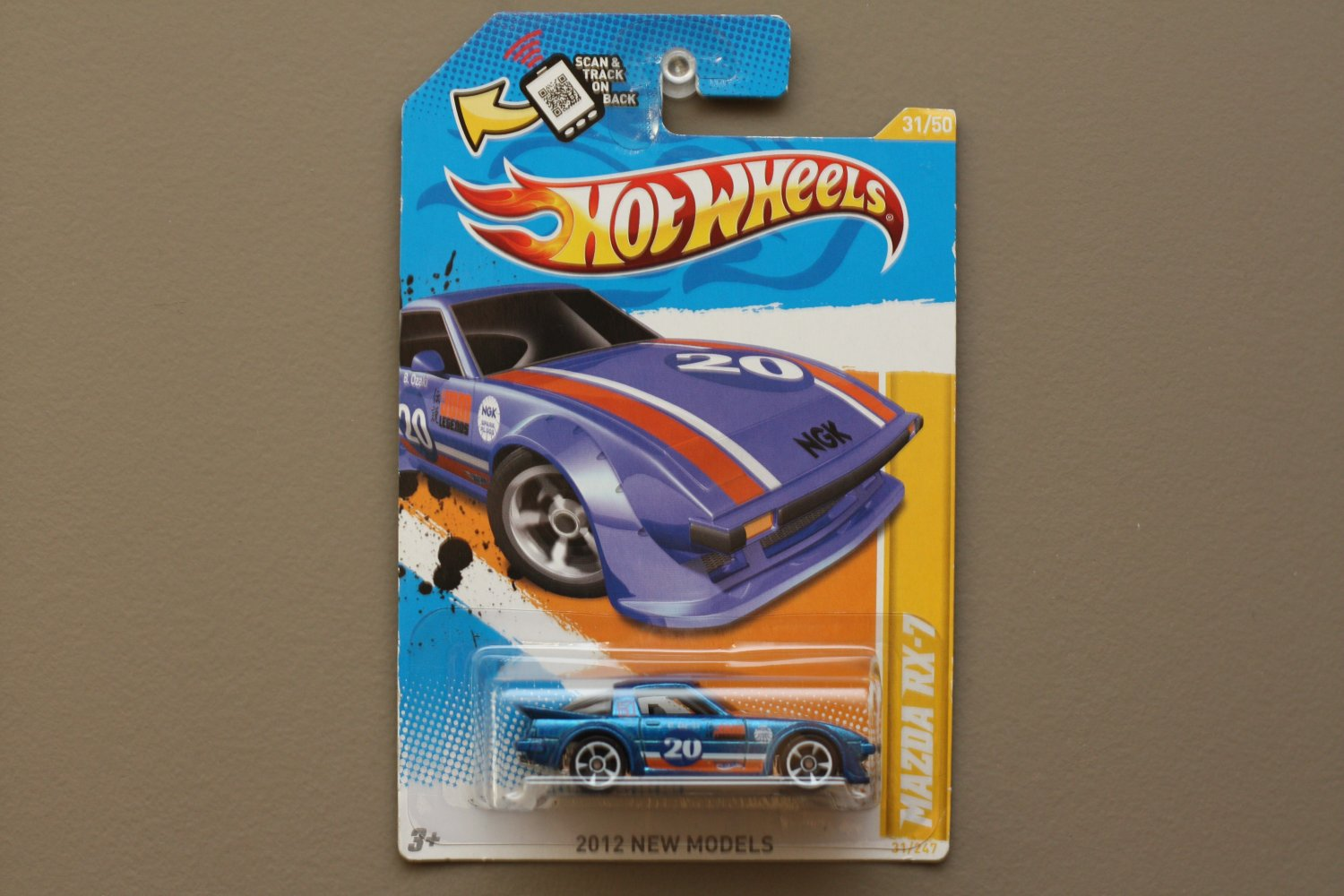 Hot Wheels 2012 New Models Mazda RX-7 (blue) (SEE CONDITION)