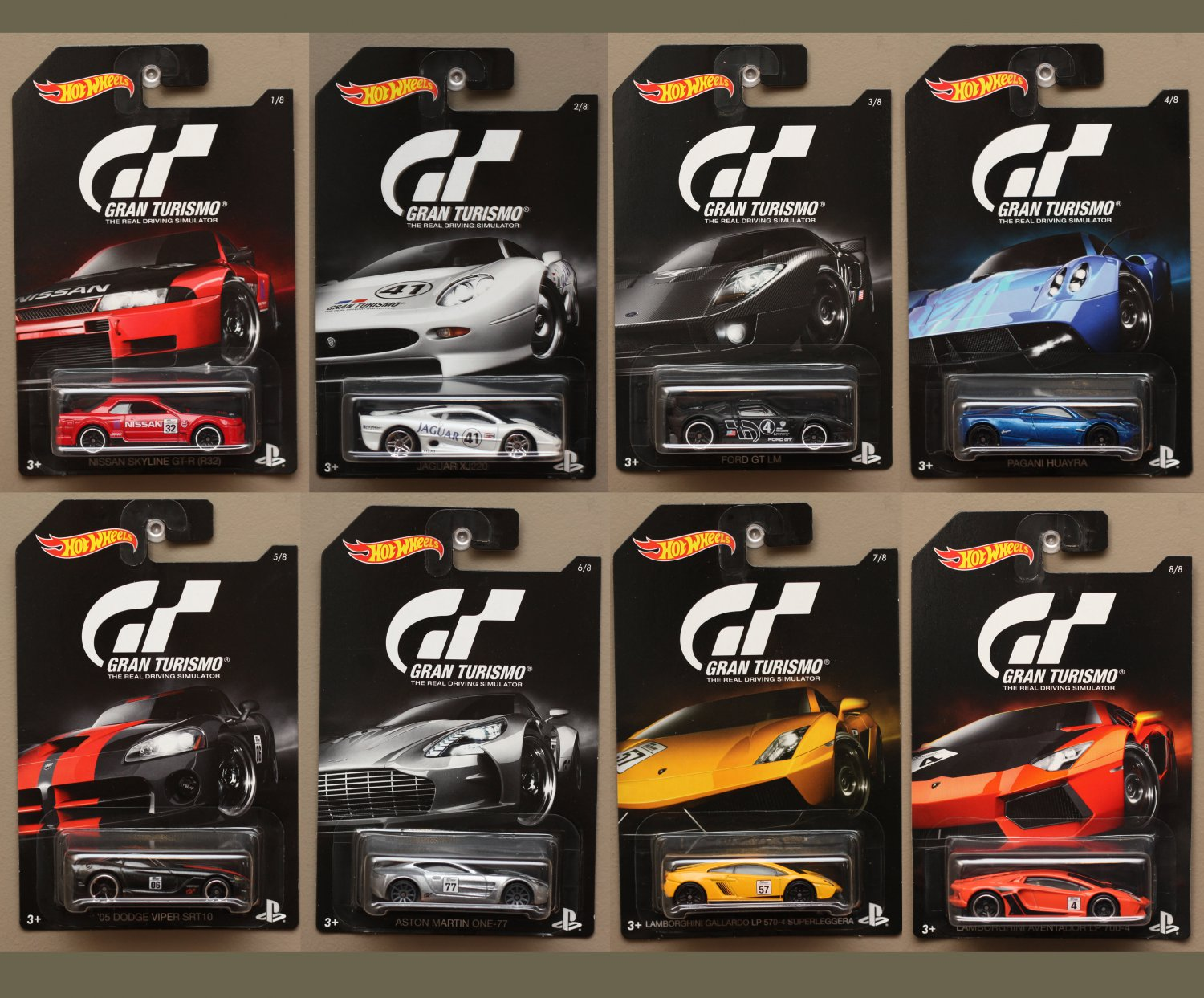 Hot Wheels 2016 Gran Turismo Complete Set Of 8 Cars