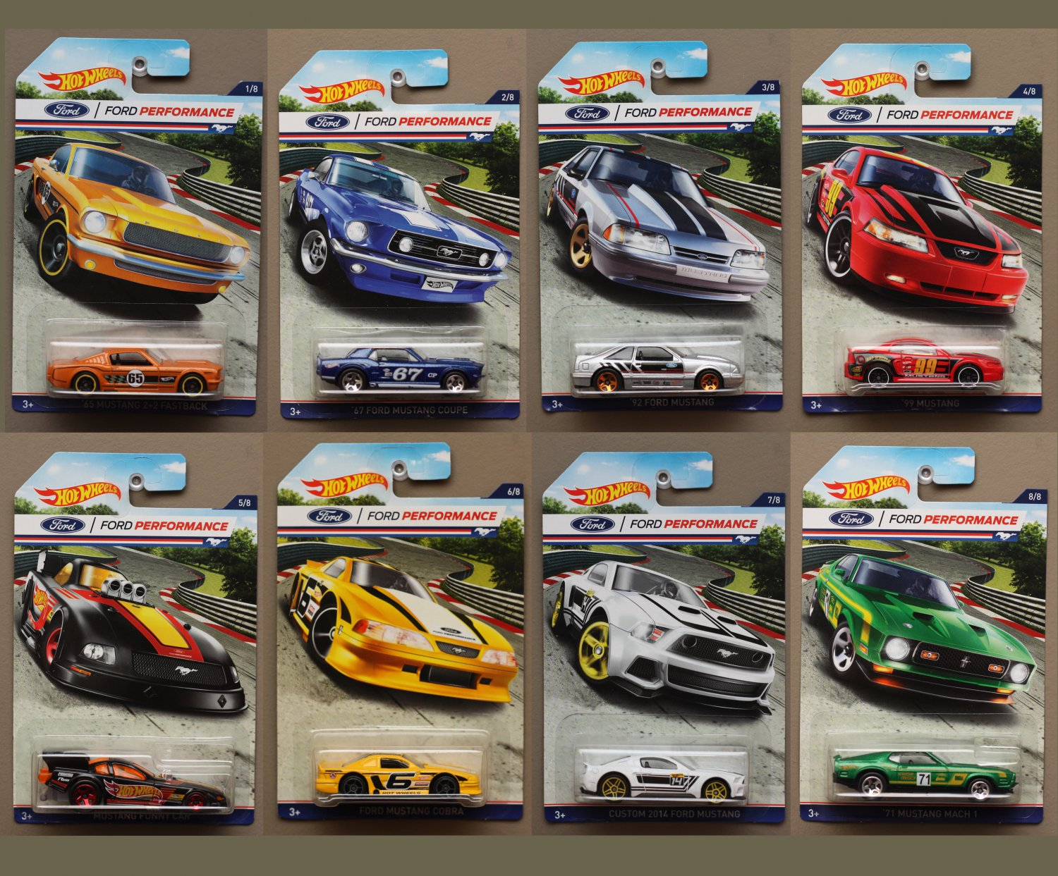 Hot Wheels 2016 Ford Performance Complete Set Of 8 Mustangs