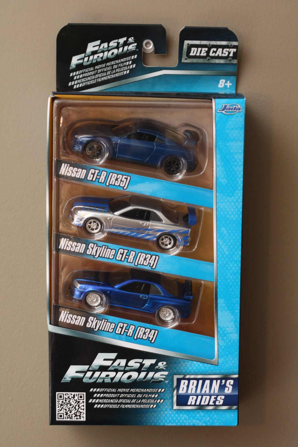 Jada Toys Fast & Furious Brian's Rides 3-Pack (Nissan Skyline R34's and GT-R R35)