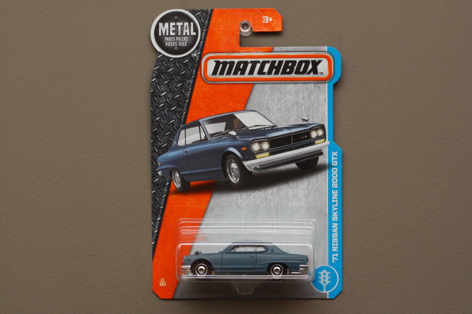 Matchbox 2017 MBX Adventure City '71 Nissan Skyline 2000 GTX (steel blue)