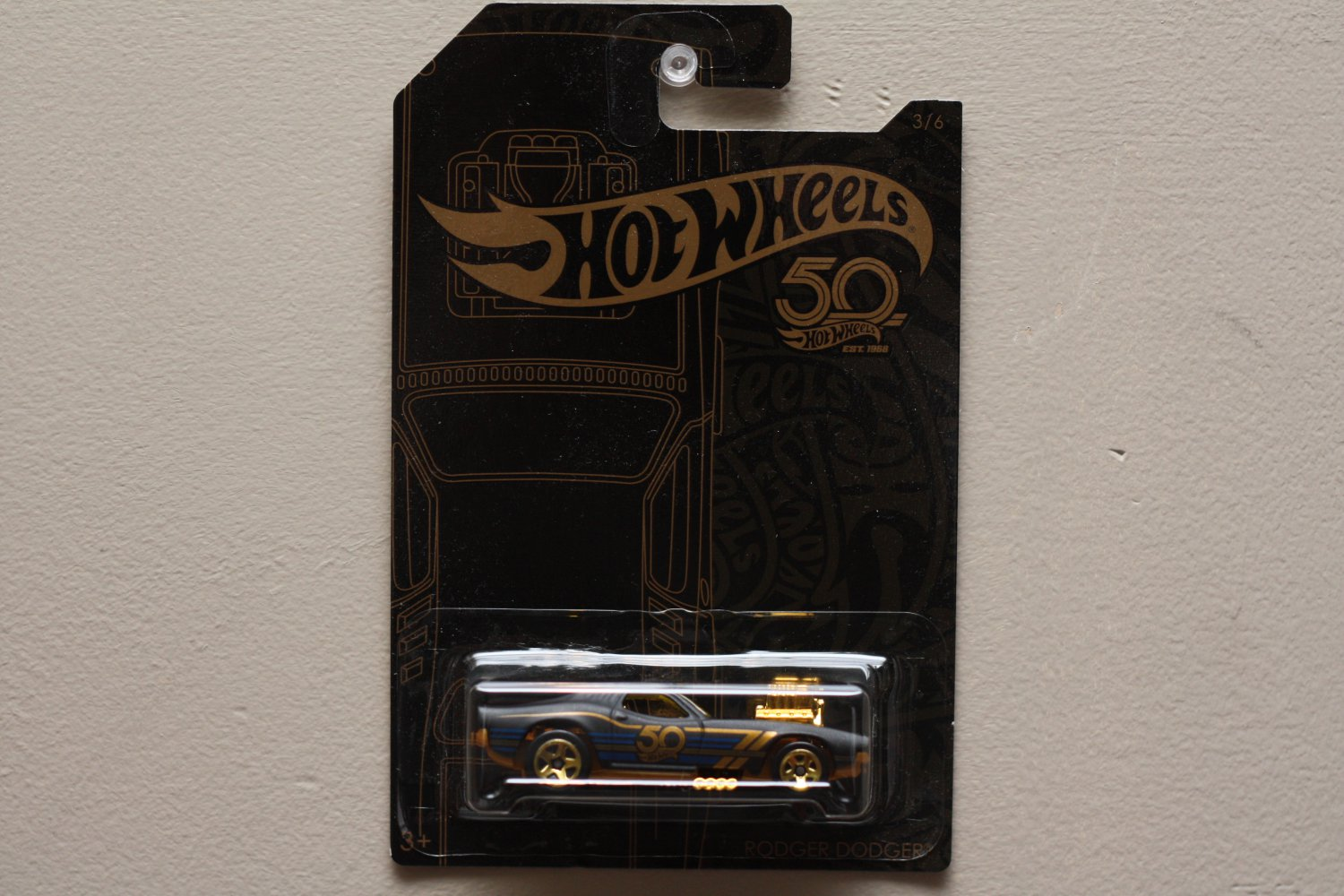 Hot Wheels 2018 50th Anniversary Black & Gold Collection Rodger Dodger