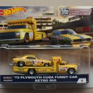 Hot Wheels 2018 Car Culture Team Transport '72 Plymouth Cuda Funny Car & Retro Rig (Snake)