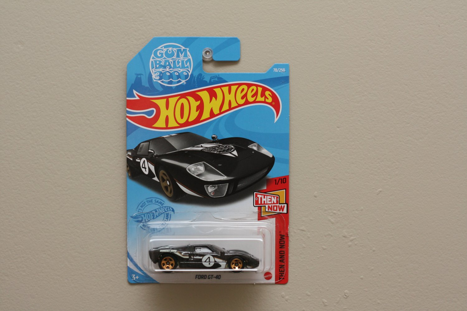 Hot Wheels 2021 Then And Now Ford GT-40 (black) (Gum Ball 3000)