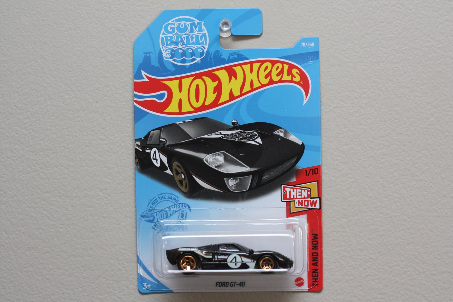 Hot Wheels 2021 Then And Now Ford GT-40 (black) (Gum Ball 3000) (SEE CONDITION)