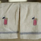 Embriodered bar towel with cocktail