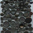175 black plastic buttons vintage buttons  2 each different pictures