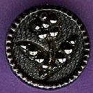 Brass with black glass floral stickup button vintage button