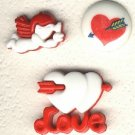 3 Valentine day buttons plastic buttons