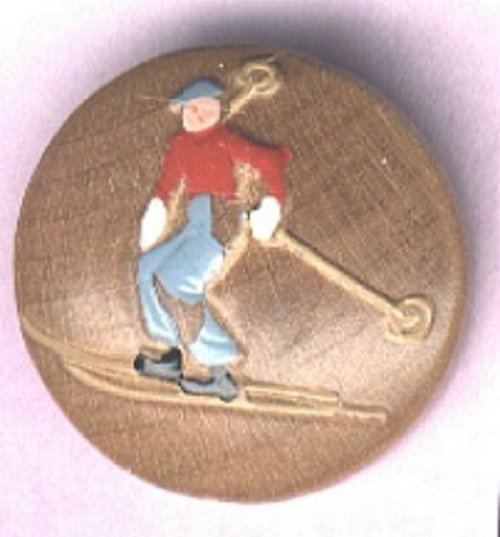SKIER button wood with paint vintage button