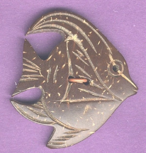 Angel Fish button coconut shell vintage button
