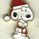 Santa Snoopy button handpainted enameled brass peanuts cartoon character button