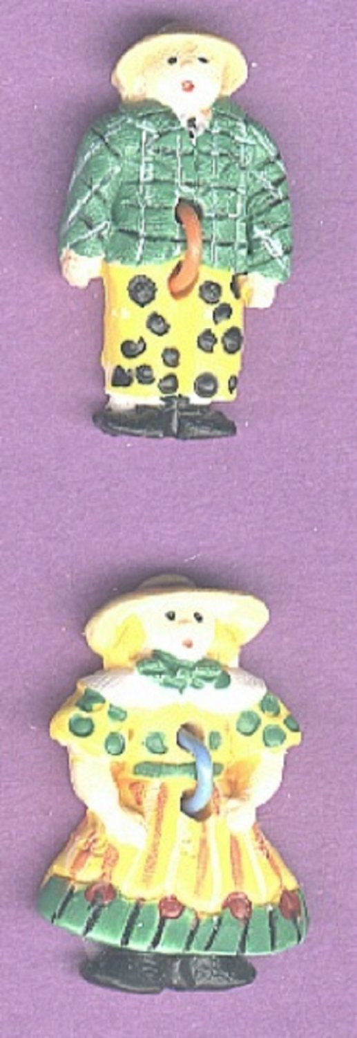 Country couple buttons plastic