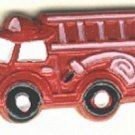 Fire engine truck button realistic hand painted enameled brass button