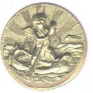 Cherub Rowing a Boat  button rays of the sun and temple in background antique button