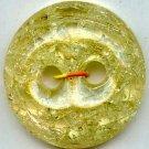 Crackle button transparent yellow color PLASTIC vintage button