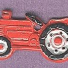 Tractor  button realistic brass with hand painted red enamel