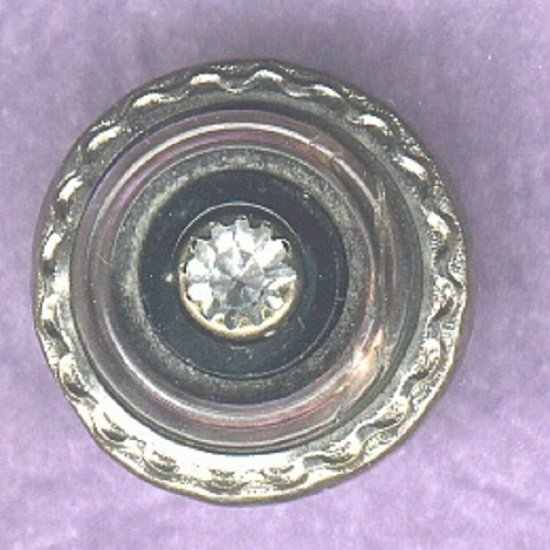 Paste black glass and pearl set in silvered brass antique button