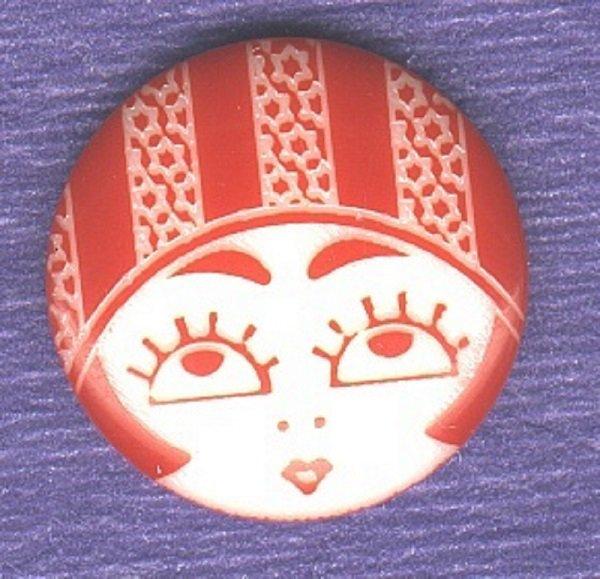 FLAPPER FACE button modern garter red white