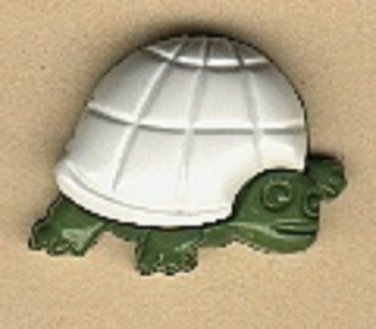 Turtle button..realistic modern snap-together, dark green and white plastic button