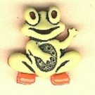 Frog button..realistic modern snap-together, orange, yellow and black  plastic button