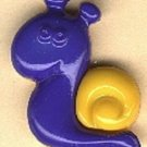Snail button..realistic modern snap-together, gold and blue plastic button