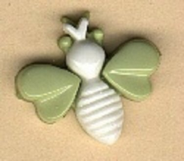 Bug button..realistic modern snap-together, green and white  plastic button