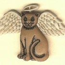 Cat with halo and wings button..realistic modern snap-together, cream and brown plastic button