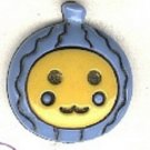 Ornament Face button..realistic modern snap-together, blue and gold plastic button