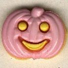 Pumpkin face button..realistic modern snap-together, yellow and pink  plastic button