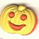 Pumpkin face button..realistic modern snap-together, orange and yellow plastic button