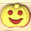 Pumpkin face button..realistic modern snap-together, red and yellow  plastic button