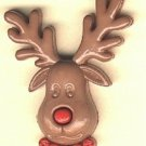 Rudolph the reindeer button..realistic modern snap-together, red and brown plastic button