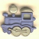 Train engine  button..realistic modern snap-together, blue and green plastic button
