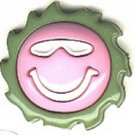 Smiley face with sunglasses button..modern snap-together, green, white and pink plastic button